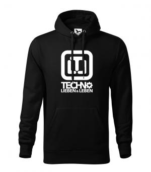 Techno Lieben & Leben Hoodie Boys XXXL | Schwarz | Weiss