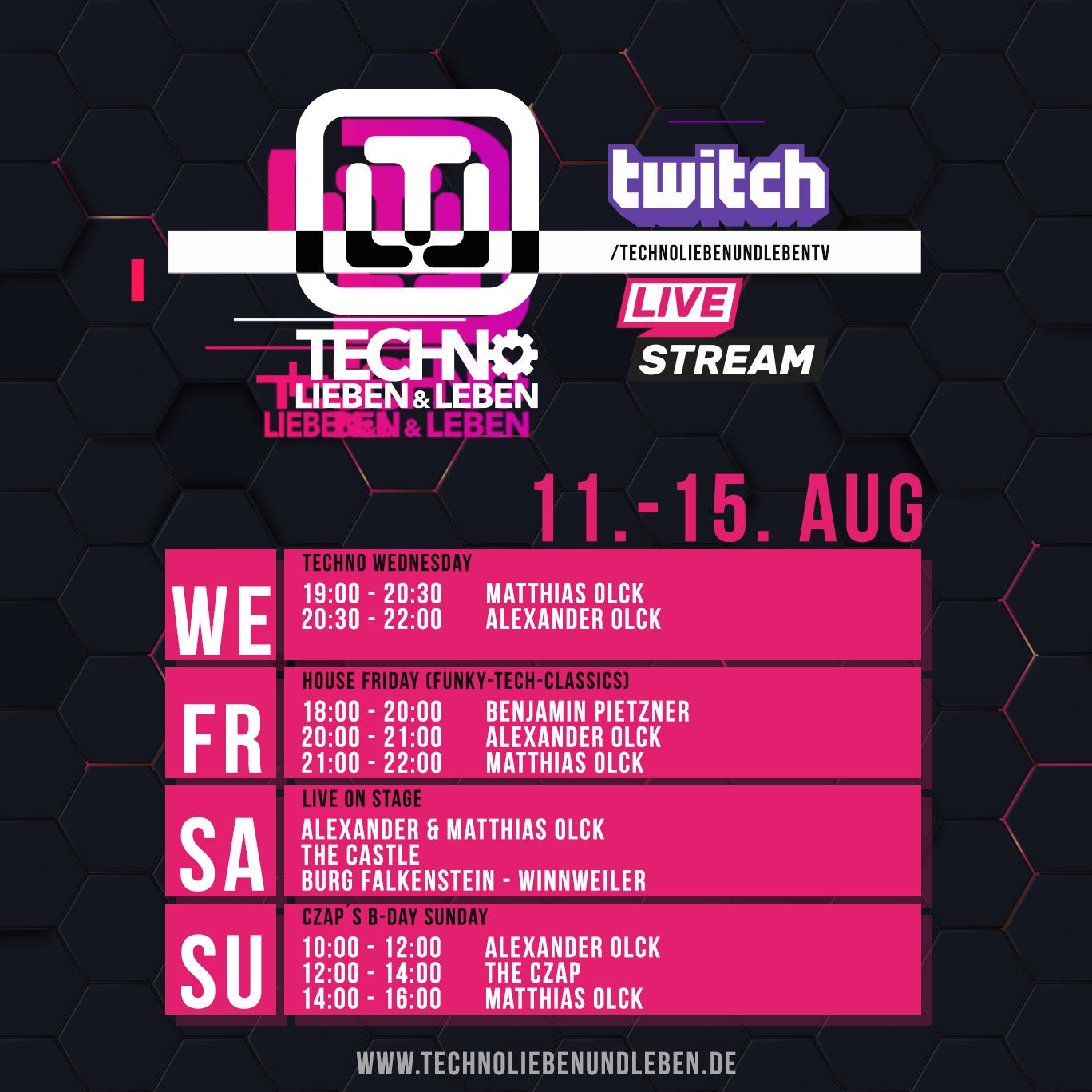 11. - 15. August Twitch Livestream
