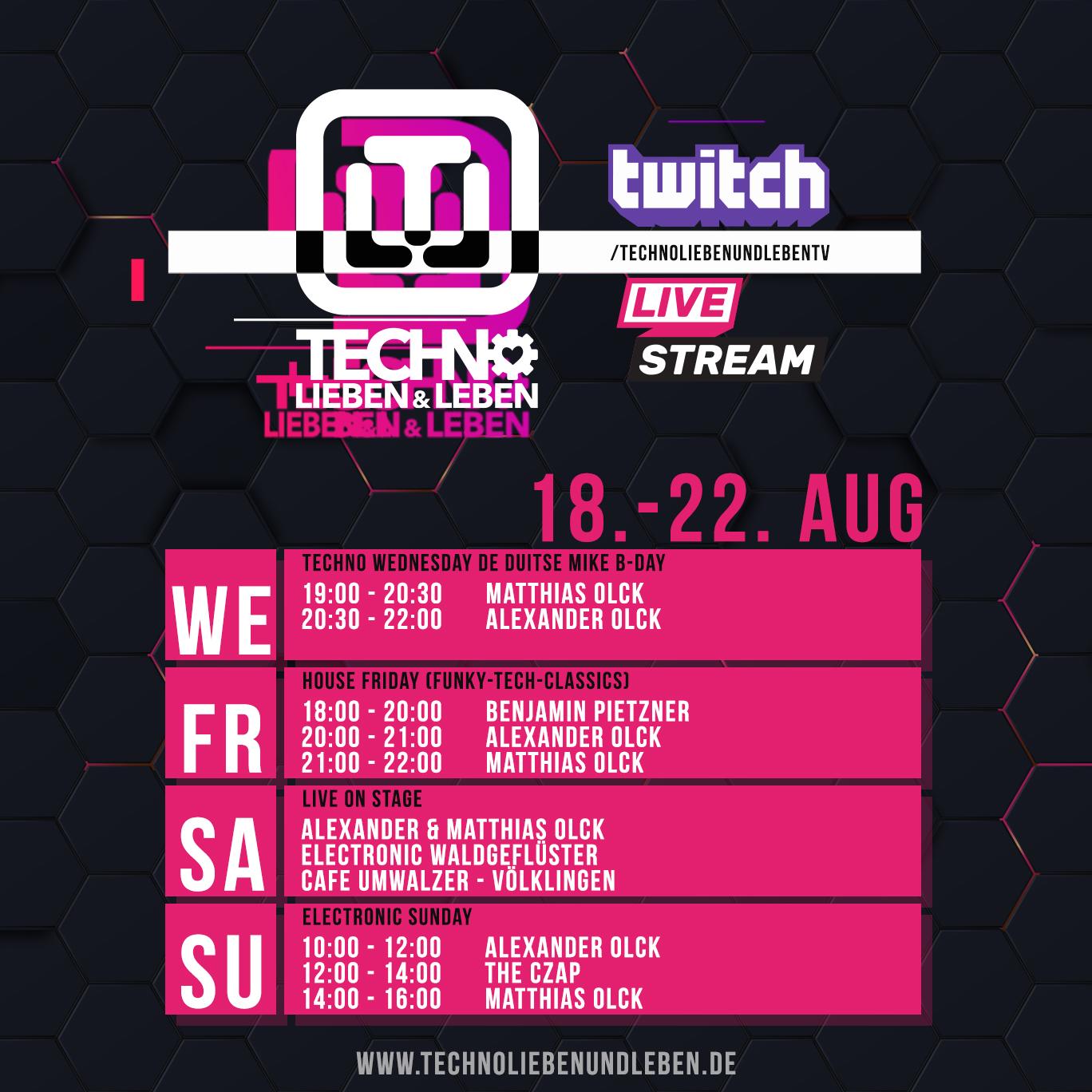 18. - 22. August Twitch Livestream