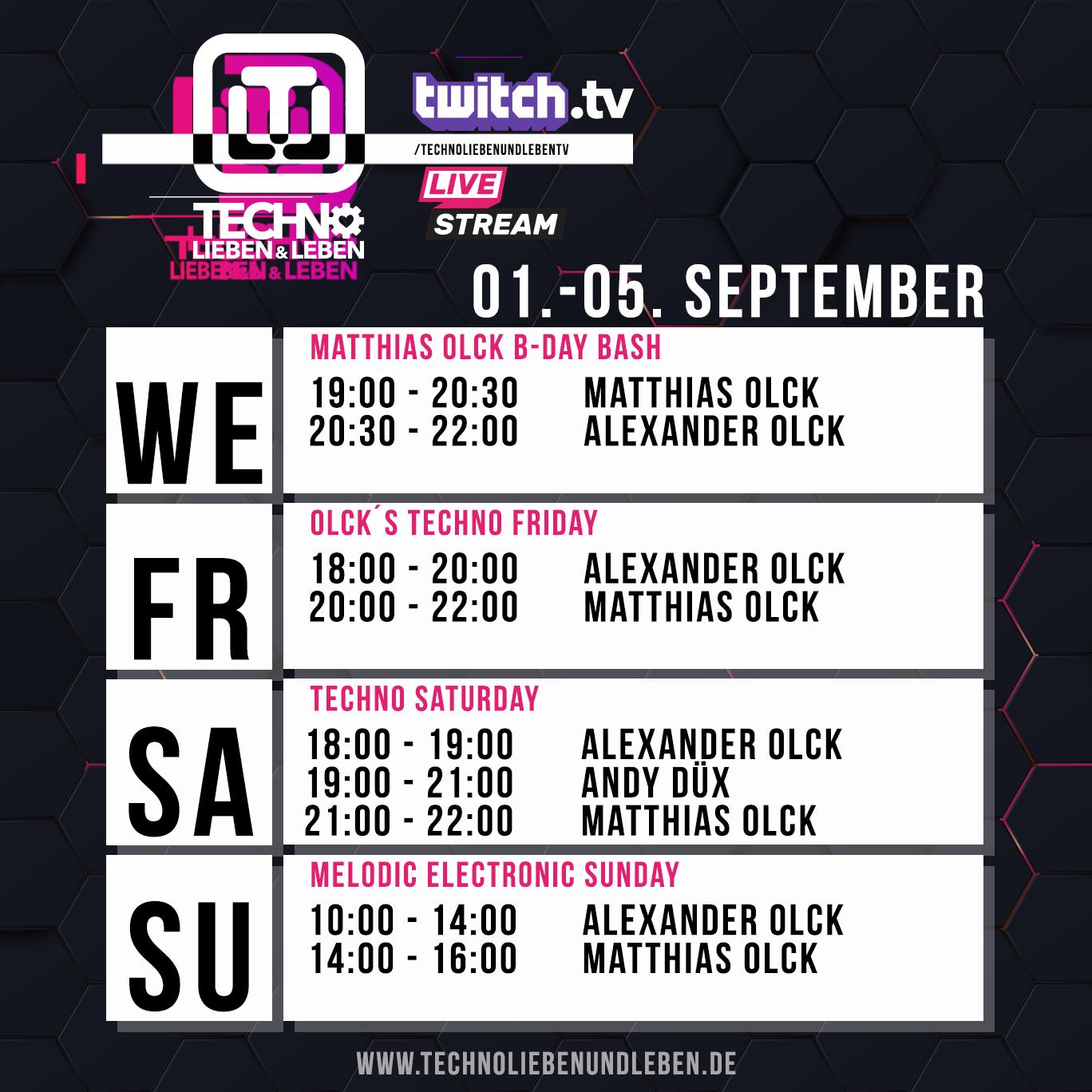 01. - 05. September Twitch Livestream