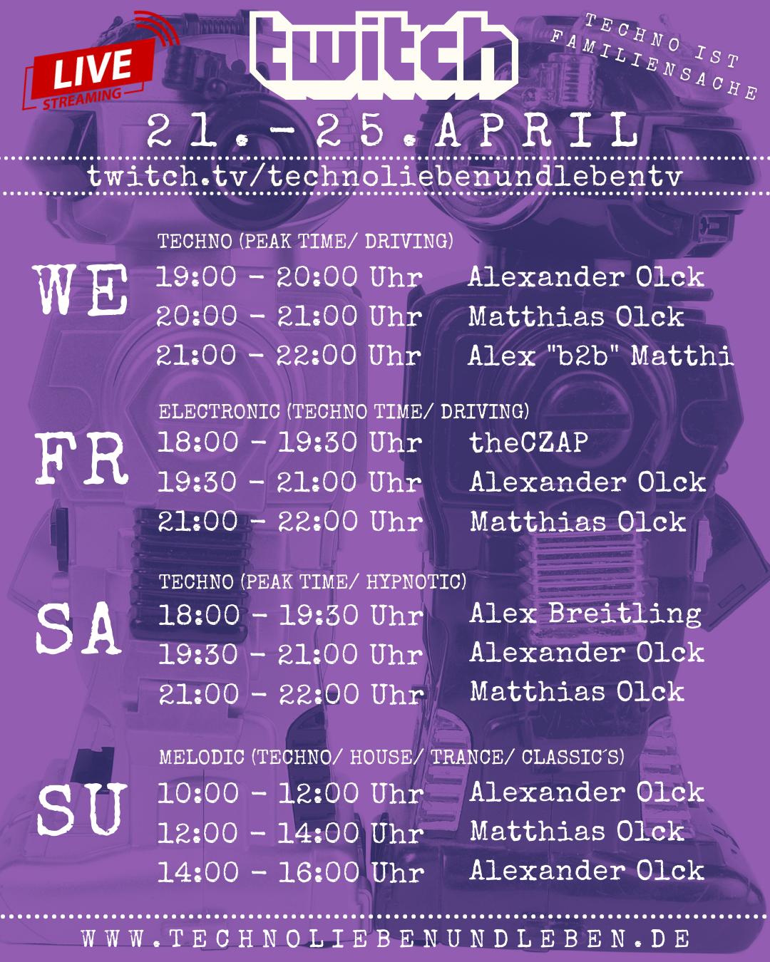 21. - 25. April Twitch Livestream
